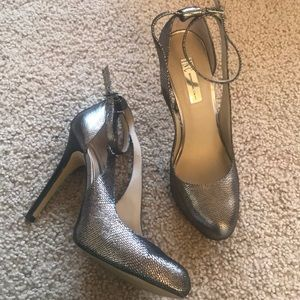 INC silver snake leather heels tiearound,8 1/2!NEW